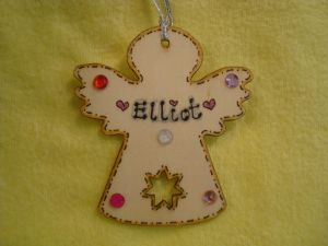 2017 Personalised Wooden Fairy Angel Shaped Christmas Tree Hanger with gem Decorations Any Name